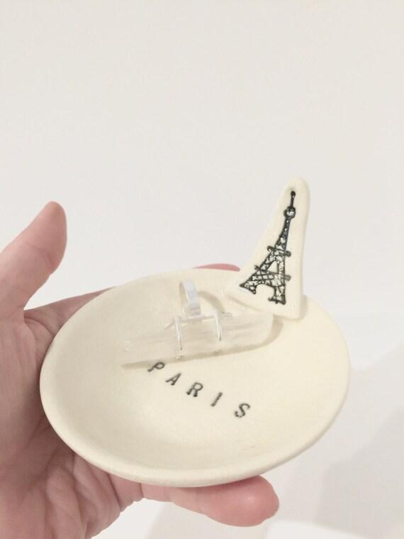 EiffelTower Ring Holder Dish Porcelain Black and White MADE TO ORDER