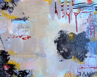 Afraid to Fly- original artwork fine art mixed media collage painting canvas