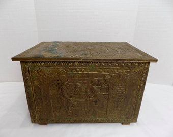 LARGE Brass Antique Victorian Embossed Fireplace Chest Box England - English Colonial Scene Wood Slipper Trunk Coal Storage Home Decor