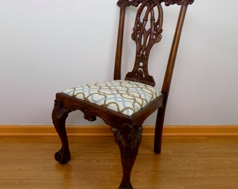 19th Century Georgian Style Ball and Claw Carved Mahogany Chair - Upholstered - English Chippendale Style Ribbon Back Dining Office Boudior