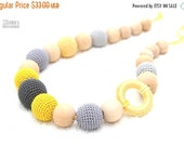 25% off Nursing mom necklace-Teething Breastfeeding necklace in grey and yellow with wooden ring