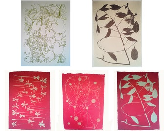 Set of 5 Screen-Printed Wildflower Designs on Paper