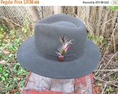 SALE Vintage Wool Felted Fedora hat , Gray feather band , brow band , 21.25'' Made in the USA