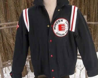 SALE SALE Early 80's Black wool letterman varsity, hockey Team jacket.Fabulous condition.Made in CANADA
