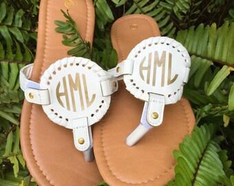 Monogram Sandals Disk Medallion White Gold