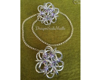 "Chain Maille ""Not So Fuzzy Dice"" Lavender Rear View Mirror Car Accessory"