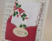 Embroidered Merry Christmas Handkerchief Poinsettia Keepsake Gift Antique Music Print Christmas Carol Teacher Pastor Co Worker Hankie Card