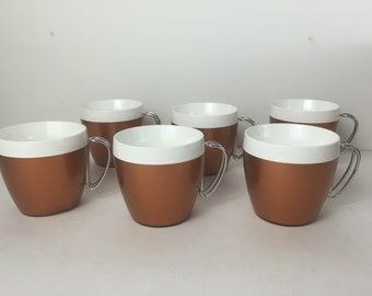 Vintage Thermo Serv Coffee Cups Thermo Serv Hot Cold Beverage Cups Metal Handle Copper Plastic Cup Set of Six