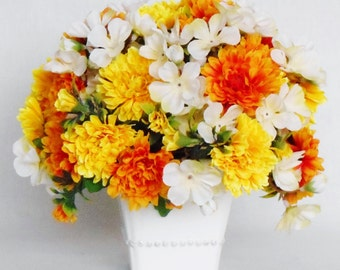 Silk Flower Arrangement, Yellow and Gold Marigolds, White Accent Flowers, White Vase, Artificial Flower Arrangement, Silk Floral Decor,