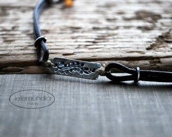 Leather Bracelet with Silver Vine Detail by Letemendia