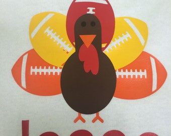 Football turkey Thanksgiving long sleeve tshirt or bodysuit