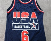 RARE 1994 USA Derrick Coleman Champion Jersey Dream Team Jersey
