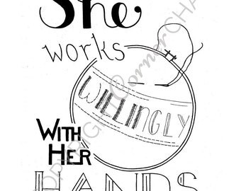 Proverbs 31 Embroidery Pattern, PDF Embroidery Pattern, Bible Verse Embroidery, Embroidery PDF, Embroidery Pattern, She Works Willingly