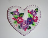 Appliqued and Beaded Heart Brooch