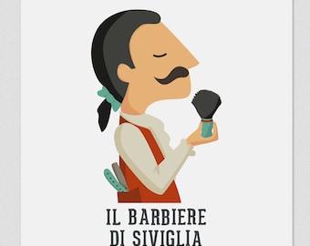 Illustration. Il barbieri di Siviglia. Print. Wall art. Art decor. Hanging wall. Printed art. Decor home. Gift idea. Sweet home. singer