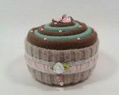 PINCUSHION... Yummy-looking Cupcake. Mint and Chocolate Swirl. Green, brown, beige, pink.
