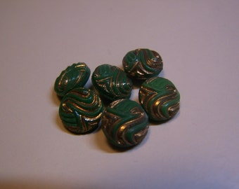 "Vintage 3/8"" Glass Green & Gold Buttons, Set of 6"