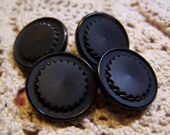 """Vintage 7/8"""" Black Coat Buttons, Set of 4 (1432)"""