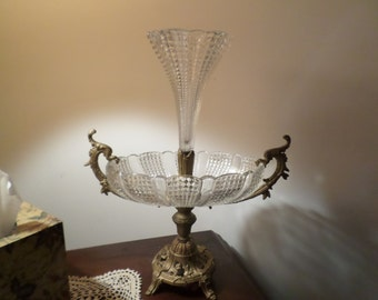 Stunning EAPG Victorian Brass/Metal-Cut Glass/Crystal-Epergne/Centerpiece/Table Decoration/Ornate/Fancy