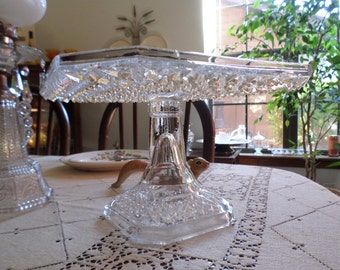 Fantastic EAPG Square Glass Cake Stand/Bakery Plate/Pedestal-Serving/Wedding/Shower/Dessert