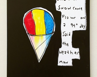 "Snow Cone Flavor by B. Schuman 11""x14"" Original Abstract Urban Expressionist Painting"