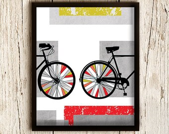 Bicycle Art Print, Bike Art,  Bicycle Poster, Bike Poster Wall Art, Bicycle Home Decor, / 8x10in
