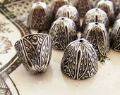 Ornate Large Antiqued Silver OX Art Nouveau Victorian Bead Caps Cone Floral Leaf Embossed Tassel Ends - 4