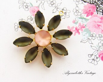 Daisy Flower Matte Black Diamond and Pale Pink Rhinestone Vintage Glass Stone Floral Pendant Silver Ox or Brass Drop - 1