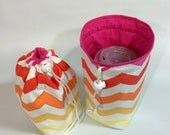 Mason Jar Carrier Bag - Quart Single Jars to Go Bag pink chevron quart size drawstring cozy snack pouch