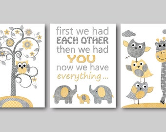 Neutral Kids Room Decor Baby Nursery Print Baby Room Decor Baby Nursery Print Kids Art for Children Baby Shower Decor set of 3 Gray Yellow /