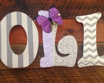 Custom Nursery Letters- Personalized Name-OLIVIA-Grey-white-purple-butterfly- nursery-Wooden Hanging Letters - Honey Boo Boutique