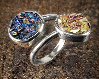 Bismuth Ring - Sun and Moon - Total Solar Eclipse  Momento - Souvenir Sterling Ring - Bismuth Jewelry - Chemistry Science Gift for Her