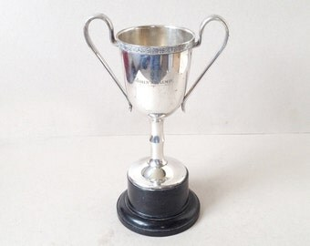 Vintage silver plated trophy with handles, Large sports trophy, Sports trophy cup, Vintage trophy, Engraved prize trophy