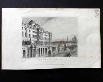 Dugdale C1840 Antique Print. Somerset House, London