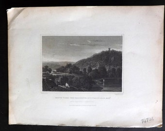 Hinton USA 1832 Antique Print. Monte Video The Residence of D.Wadsworth