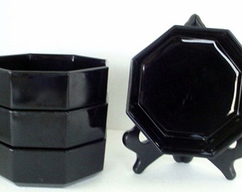 4 Vintage 1970's Made in France  Black Glass Octagon Cereal Soup Bowls