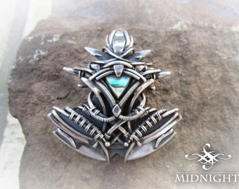 """Mother of Pearl Shell in Sterling & Fine Silver Wire Wrap Mens Medieval Pendant (MC5) """"FURORE"""""""