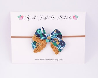 Tourquoise Floral Ladylike Bow with Gold Crochet Trim