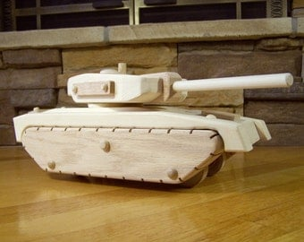 Handmade Wooden Army Tank Toy