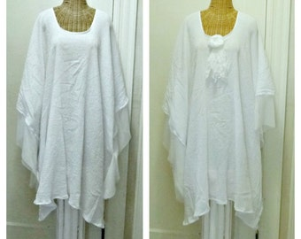 Cotton Caftan Oversized Dresses White Or Black Medium thru 6X Festival Wedding Luau Beach Gauze Soft Mesh Bridal Destination Plus Size