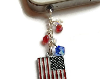 American Flag Dust Plug, Patriotic Cell Phone Charm, Swarovski Crystals,Gift Idea, Sale