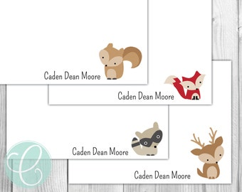 Woodland Animals Flat Note Cards - Set of 20