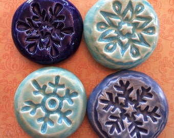 Lot of 4 SNOWFLAKE Pocket Stones - Inspirational Art Pieces by Inner Art Peace