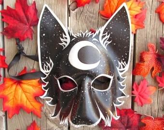 Mystical Waning Crescent Moon Wolf Mask, Animal mask, LARP costume, Theater Accessory, Halloween Mask, Cosplay, Fantasy mask