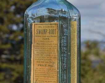 What a Great original antique QUACK patent medicine bottle Dr. Kilmer's SWAMP ROOT Cure - from 1800's.