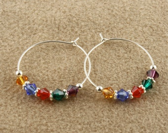 "Sterling Silver Mothers Earrings with 5 Swarovski Birthstone Crystals, 1"" (25mm) Wire Hoop Earrings,your choice of Crystal Birthstone colors"