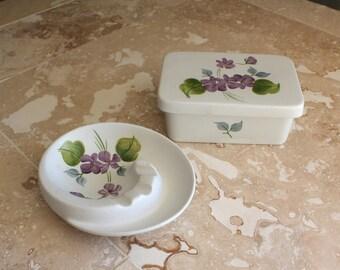 Ashtray and trinket box set - Hand painted earthenware pottery - E Radford England - Edward Radford pottery set - HJ Woods Ltd