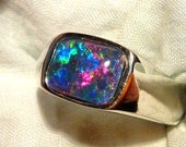 Mens Opal Ring Sterling Silver, Natural Opal Triplet. 10x8mm Rectangle. item 100603.