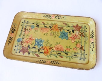 Vintage 1960's Paper Mache Light Yellow Floral Tray - Made in Japan
