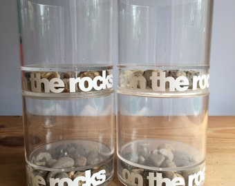 4 Mid Century Modern On the Rocks Lucite Glasses